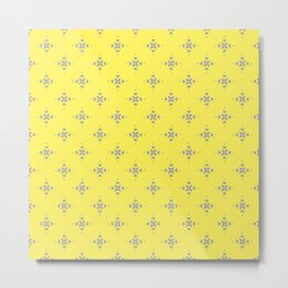 Ornamental Pattern with Lemon and Grey Yellow Colourway Metal Print
