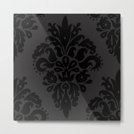 Classic Black Dark Grey Damask Pattern Metal Print