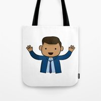 michael scott Tote Bags featuring Michael Scott - The Office by Joe Bidmead