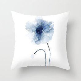 Blue Watercolor Poppies #2 Throw Pillow