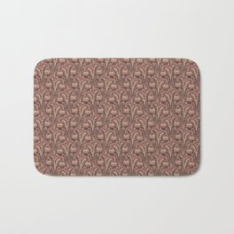 Old Rose Pink Woodcut Style Bellflower William Morris inspired Pattern Bath Mat