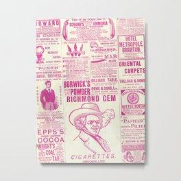 Old Tyme Newspaper Pink Metal Print