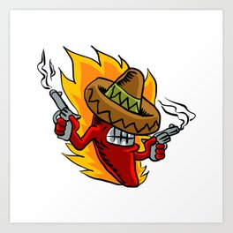 Mexican red chili pepper with guns. Art Print