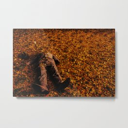 Man Lost in Autumn Leafes Metal Print