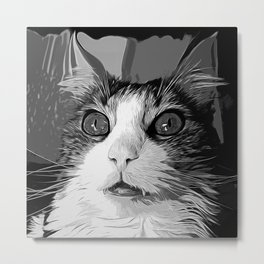 norwegian forest cat omg vector art black white Metal Print