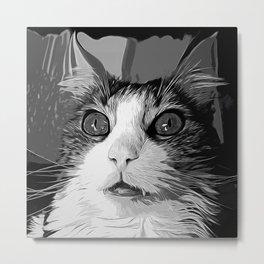 norwegian forest cat omg vector art black white Metal Print