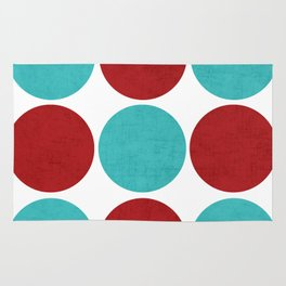 modern dots - aqua and red Rug