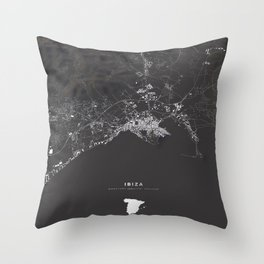 Ibiza City Map  Throw Pillow