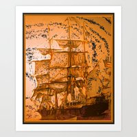 pirate ship Art Prints featuring pirate ship by Vector Art