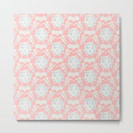Shabby elegant coral ivory pastel blue floral damask Metal Print