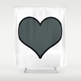 PPG Paint Night Watch Heart Shape with Black Border Digital Illustration, Minimal Art Shower Curtain