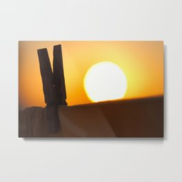 Clothes peg at sunrise Metal Print