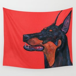 Eva the Dobermann on a Bloody red background Wall Tapestry