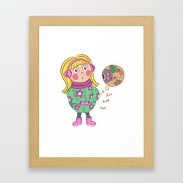 A hungry girl Framed Art Print