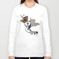 music notes Long Sleeve T-shirts featuring Fluttering Notes by Charlotte Massey
