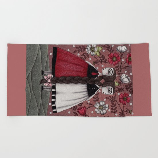 Snow-White and Rose-Red (1) Beach Towel