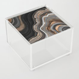 Elegant black marble with gold and copper veins Acrylic Box