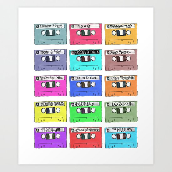 Cassettes - My Favourite Artists Art Print