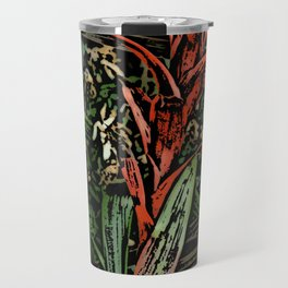 Spiky Red Flower Woodcut Travel Mug