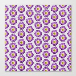 Purple Yellow Daisy Pattern,Retro Canvas Print