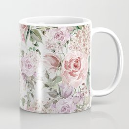Blush pink lilac white lace country floral Coffee Mug