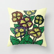 technicolor flowers Throw Pillow