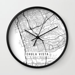 Chula Vista Map, USA - Black and White Wall Clock