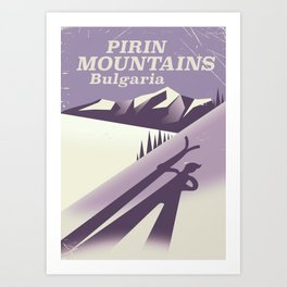Pirin Mountains Bulgaria Ski Art Print