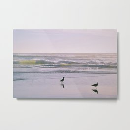 Lime Waves Metal Print