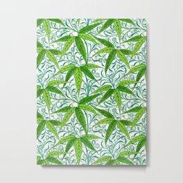 William Morris Bamboo Print, Green and White Metal Print