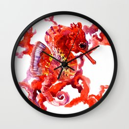 Seahorse red sea world art, corals, Coral red Scarlet Artwork Wall Clock
