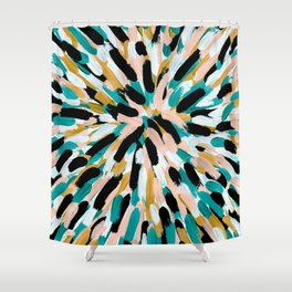 Teal, Pink, and Gold Paint Burst Shower Curtain
