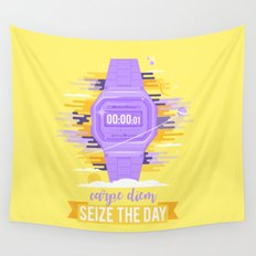 Carpe Diem - Sieze the Day [purple] Wall Tapestry