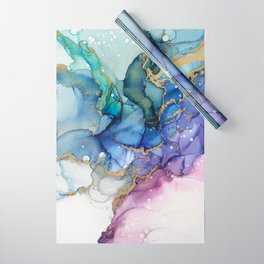 Moody Mermaid Bubbles Abstract Ink Wrapping Paper