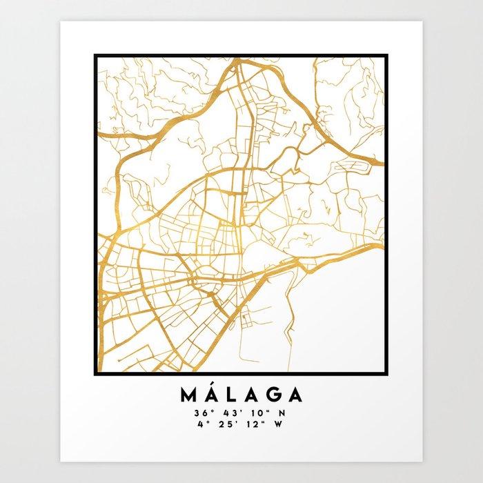 Malaga Spain City Street Map Art Art Print By Deificusart Society6