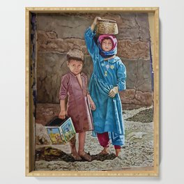 Oil painting 2 kids Childhood is miserable but responsible and stubbornly resisting despair Serving Tray
