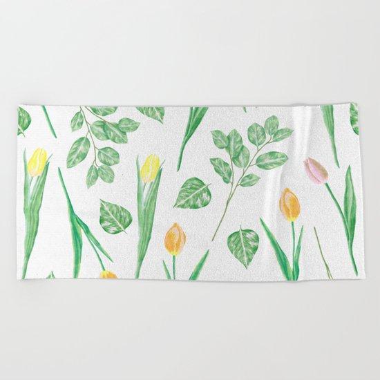 Tulips Floral Pattern Beach Towel
