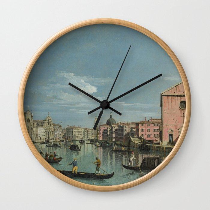 Venice: The Grand Canal facing Santa Croce by Bernardo Bellotto Wall Clock