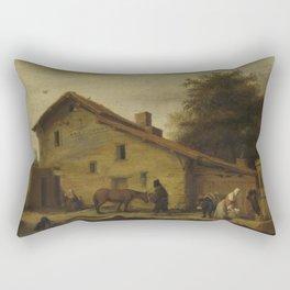 An Inn in the Neighborhood of Nantes, Lambert Doomer, 1640 - 1660 Rectangular Pillow