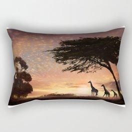 Purple Safari Sunset- giraffe family Rectangular Pillow
