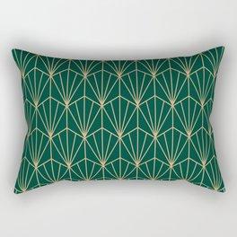 Art Deco Vector in Green and Gold Rectangular Pillow