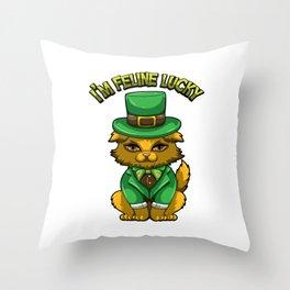 I'm Feline Lucky - St. Patrick's Day Irish Cat Throw Pillow