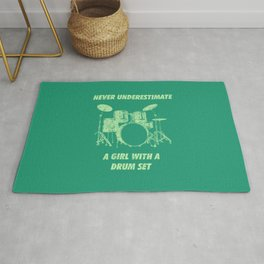 Never Underestimate A Girl With A Drum Set Funny Drums Vintage Drummer Distressed Rug