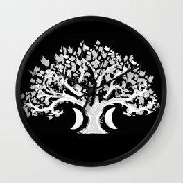 The Zen Tree - White on Black Wall Clock