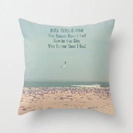 Bird flying high Throw Pillow