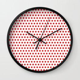 Polka / Dots - White / Red - Medium Wall Clock