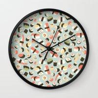 novelty Wall Clocks featuring Yummy Sushi! by Eine Kleine Design Studio