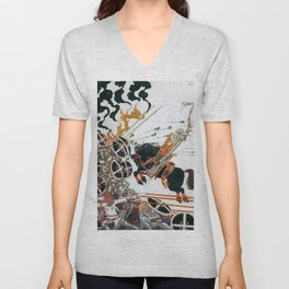 Young People And Black Horses Participating In The War From The Neighboring Country Unisex V-Neck