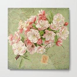 Vintage Cherry Blossoms and Ephemera - French Ephemera Collage Print - Vintage Botanical Metal Print