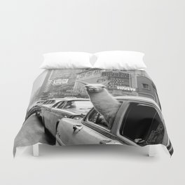 Llama Riding in Taxi, Black and White Vintage Print Duvet Cover